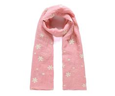 Pink/cream floral embroidered scarf