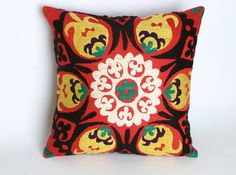 Suzani Cotton Pillow Cover, Hand-Embroidered Pillow