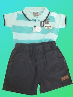 46440b5d926 Conjunto Menino Baby Polo e Shorts Cargo Brandili. Bagunça Boa Boutique  Infantil . Roupas de Bebe · Conjunto Camisa Xadrez e Bermuda Cargo Brandili  Mundi ...