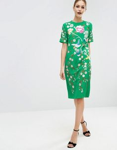 ASOS | ASOS Bird & Floral Embroidered Shift Dress