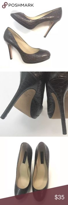 """Ann Taylor Moc Croc Leather Stiletto Heels Brown Size 10 m like new worn once! Leather soles, moc croc embossed dark brown leather platform stilettos. 4.75"""" heel. Ann Taylor Shoes Heels"""