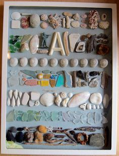 Nature collection shadow box--what to do with all the shells, sea glass, rocks and other little pretties we can't bear to throw away! Seashell Crafts, Beach Crafts, Diy And Crafts, Crafts For Kids, Arts And Crafts, Seashell Decorations, Nature Collection, Shell Collection, Rock Collection