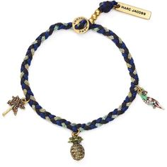 Marc Jacobs Pineapple Friendship Cord Bracelet ($53) ❤ liked on Polyvore featuring jewelry, bracelets, blue, rope bracelet, pineapple jewelry, tri color bangles, beaded bangles and cord bracelet
