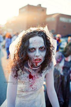 AVL Zombie Walk Halloween 2018, Halloween Bride, Halloween Celebration, Halloween Make Up, Halloween Costumes, Ghost Makeup, Zombie Makeup, Zombie Face, Zombie Girl
