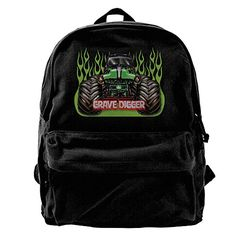 Canvas Backpack Grave Digger Monster Truck Casual Laptop School Bag Daypack For Travel Hiking Camping *** Learn more by visiting the image link.