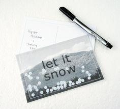 cool idea! >>> i d l e w i f e : let it snow snowglobe postcard