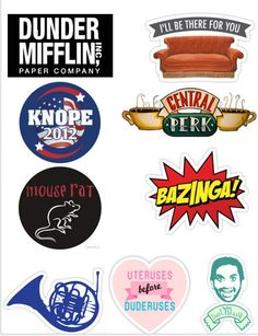 Stickers TV shows The Office Friends Parks and Recreations Big bang theory | Leslie Knope Mouse Rat Bazinga Treat yo self Dunder Mifflin Ron Swanson by topstickerdesigns on Etsy