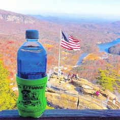 An El Estudio koozie makes it to the top of Chimney Rock near Asheville, NC!