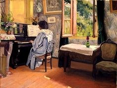 Lady at the Piano By Felix Valloton - Famous Art - Handmade Oil Painting On Canvas — Canvas Paintings Pierre Bonnard, Piano Y Violin, Piano Art, Edouard Vuillard, Lausanne, Toulouse, Critique D'art, Oil Painting Gallery, Artists