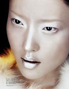 SHAMPALOVE: Snow Queen Make up ! Model: Du Juan (IMG) Editorial: Snow Queen Magazine: Vogue China, December 2009 Photographer: Lachlan Bailey Stylist: Alatair McKimm Hair: Rita Marmor Makeup: Osvaldo Salvatierra