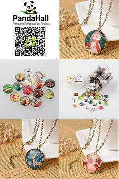 PandaHall Cabochons------ Christmas Ornaments Half Round/Dome Christmas Photo Glass Cabochons #Christmas #Ornaments #Cabochons #promotion #necklace #jewelry