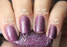 L.A. Girl 3D Effects Collection Purple Effect vs Zoya Aurora