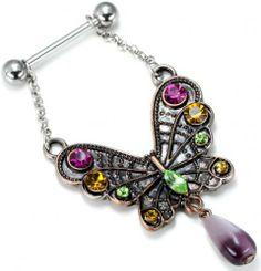 New Designed Zircon Nipple Antique Very Beautiful Colorful Butterfly Body Jewelry Nipple Piercing Wholesale Jewellery Uk, Latest Jewellery, Opal Jewelry, Fashion Jewelry, Women Jewelry, Body Jewelry Shop, Body Jewelry Piercing, Jewelry Tattoo, Body Piercing