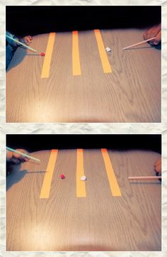 Short game with the paper balls and tubes. The winner is this one who as a first one let a ball to the opponent's court!!