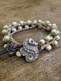 Crochet Bracelet Seahorse Multi Wrap Knotted Leather Surfer Girl Chic by Two Silver Sisters