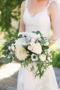 Blush & ivory, dahlia, garden rose & anemone bridal bouquet by San Diego wedding florist, Compass Floral.