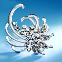 Women Plating Antique Silver Flower Rhinestone Brooch Bouquet For Wedding Party Pin(China (Mainland))
