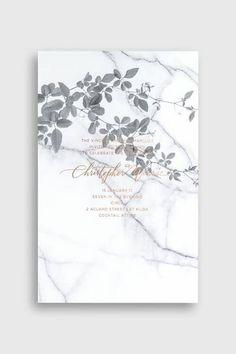 Una invitación en tendencia con mármol y cobre de Bliss and Bone.
