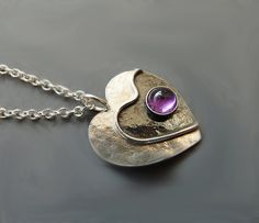 Sterling silver heart necklace with amethyst F1  by Kailajewellery, £49.00