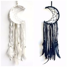 Mini crescent moon dreamcatcher custom order by fujiyamamamamai Diy And Crafts, Arts And Crafts, Kids Crafts, Moon Dreamcatcher, Dreamcatchers, Diy Projects To Try, Craft Projects, Dream Catcher Craft, Making Dream Catchers