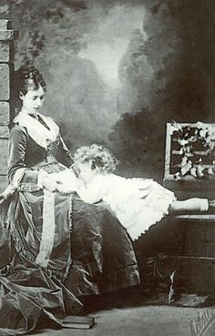Tsarina Maria Feodorovna (Dagmar) and her son, the future Tsar Nicholas II -1869