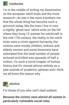I had a lecture about this in my Gender Studies course and it was horrible how supposed witches were treated + the basis on which they were accused.....