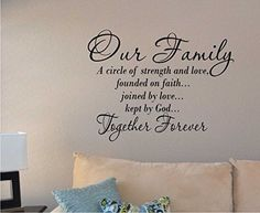 Our Family a Circle of Strength and Love Wall Vinyl Sticker Decal Made in USA  #NA