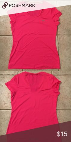 Pink technical tee Never worn! No tags- it only was made with the hang tag. Size medium. Under Armour Tops Tees - Short Sleeve