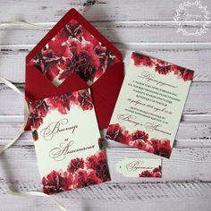 Приглашение в конверте, Подарочный сертификат, Марсала, бордовый, темно-красный, гвоздики, приглашения на свадьбу, пригласительные, marsala, dark-red, carnation, watercolor, flowers, invitation, wedding, stationery, приглашения, свадьба