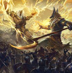 Zeus or Anubis? art by Zuoan Dong for Immortal Conquest . Dark Fantasy Art, Fantasy Artwork, Fantasy House, Egypt Concept Art, Ancient Egypt Art, Greek Mythology Art, Digital Art Gallery, Mythical Creatures Art, Egyptian Art