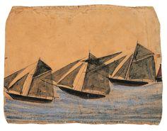 Alfred Wallis (English, 1855–1942). Green Sails, ca. 1939
