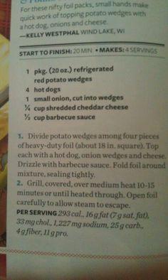 Potato and hot dog foil packs. ¦ #tasteofhome