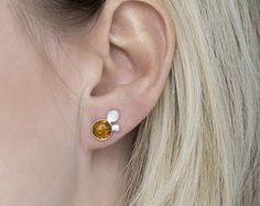 Amber Stud Earrings Sterling Silver Double Bead Earrings Round Orange Baltic Gemstone Earrings Hammered Hand Forged Metal Climbers