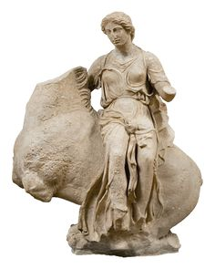 Marble statue of a Nereid or Aura on horseback, from the temple of Asklepios at Epidauros, Peloponnese   ca. 380 BC.    Statue of a Nereid or Aura on horseback, made of Pentelic marble. This was the right akroterion on the west pediment of the temple of Asklepios at Epidauros, Peloponnese. The goddess is depicted riding a horse, which is rising from the Ocean. Work of the sculptor Timotheos.