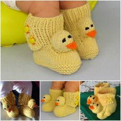 Cute Knitted Baby Chick Booties for keeping your little ones tootsies warm.  Free pattern--> http://wonderfuldiy.com/wonderful-diy-cute-knitted-baby-chick-booties/