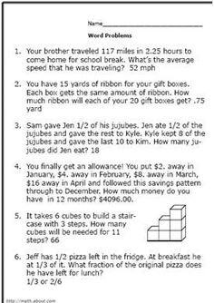 Realistic Math Problems Help Solve Real-Life Questions: Worksheet No 1 Math Tutor, Math Skills, Teaching Math, Kindergarten Math, Writing Skills, Teaching Resources, Teaching Ideas, Fraction Word Problems, Math Word Problems