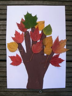 Herfst thema - Knutselen met natuurlijke materialen -  Buiten herfst blaadjes verzamelen en vervolgens laten opdrogen. Met een handafdruk en wat lijm krijg je dit mooie effect - Van Je knutselei kwijt