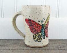 Butterfly Coffee Mug  Hand Painted Pottery Mug by LaPellaPottery, $38.00