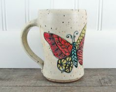 Butterfly Coffee Mug  Hand Painted Pottery Mug by LaPellaPottery, $38.00