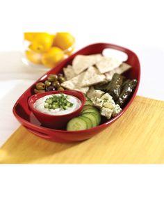 Take a look at this Red Chip 'n' Dip Dish & Bowl