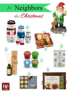 Neighbor gifts Christmas. Food basket, home decor, garden decor and more ideas perfect for the holidays.