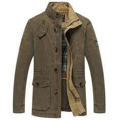 ef3e89c89d4d14 Mens im Freienbaumwoll Stehen Farbe Jacke Slim Fit beiläufige Art und Weise  Herbst Winter Mantel