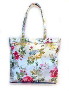 Luckers Floral Brocade Silk Handbags, HB06, White $18.00