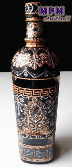 Decorative bottle, painted in a point-to-point style.