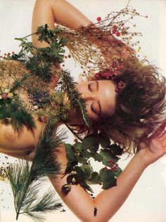 "Cover me in leaves and berries bbs, it's Friday ?? | From Vogue's ""Beauty/Fitness: What's Changing '86"" shot by Irving Penn"