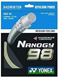 Yonex Nanogy 98 Medium Feeling Badminton String: Sharp feeling with gauge. Great repulsion for high clear and defensive shots. Racquet Sports, Tennis Racket, Babolat Tennis, Nanotechnology, Badminton, Feelings, Medium, Metallic Gold, Cosmic
