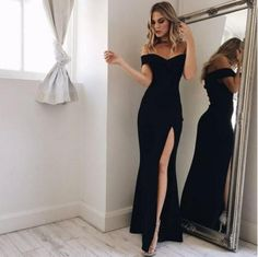 Fashion Women s Off Shoulder Casual High Waist Long Maxi Dresses Sexy  Skinny Slim Party Evening Beach Long Dress 32eb06607cf5