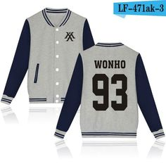 Monsta X Wonho Gray Navy Korean Pop Kpop jacket album kpop Baseball Letterman style fashion trendy SQ12017
