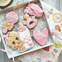 28 trendy baby shower cake for girs cupcakes Baby Cookies, Baby Shower Cookies, Cute Cookies, Birthday Cookies, Cookies Et Biscuits, Sugar Cookies, Cake Birthday, Baby Shower Cupcakes For Girls, Kid Cupcakes