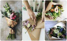 Цветочные букеты в крафт-бумаге